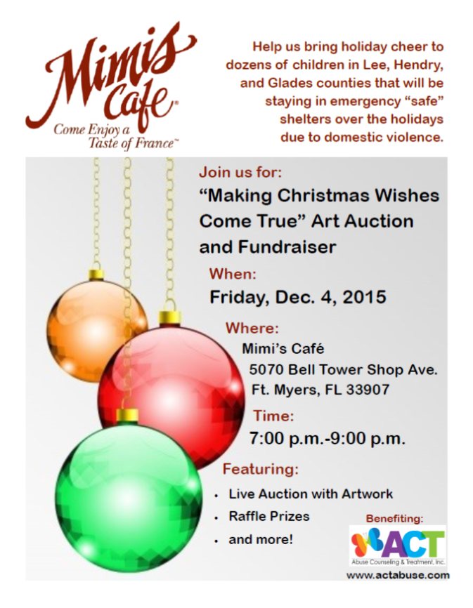 """Mimi's Cafe Hosts: """"Making Christmas Wishes Come True"""" Art Auction ..."""
