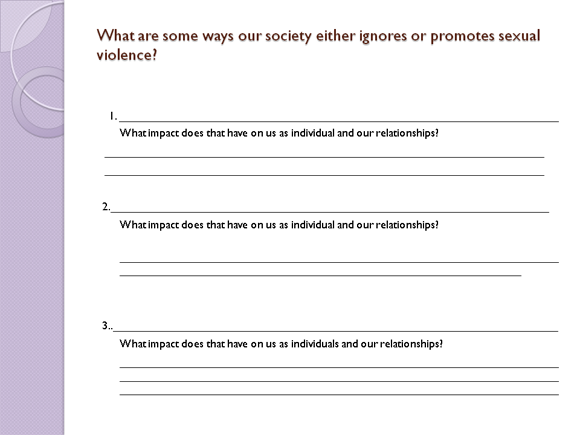 How Sexual Violence Impacts Our Lives ACT – Domestic Violence Worksheets