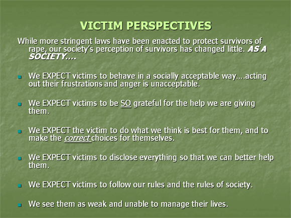 Working with victims of sexual abuse